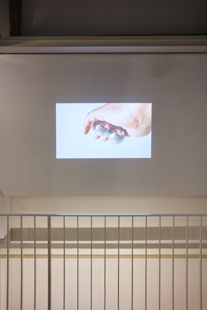 Exhibition View Groupshow «Motor; view on Karin Borer, Practice, video loop, 2020» at Kunstraum Riehen, Riehen, Basel, 2020 / Photo: Moritz Schermbach / Courtesy: the artist