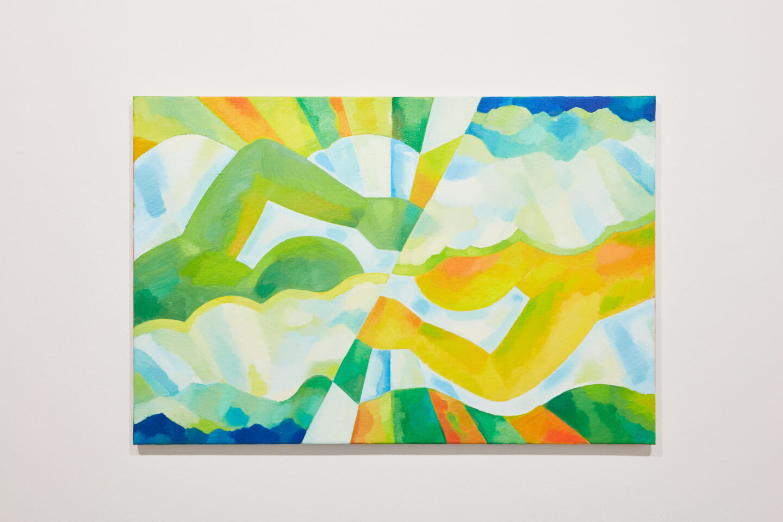 Exhibition View Groupshow «Motor; view on Aldo Solari, Wende 2, oil on canvas, 60x90cm, 2011» at Kunstraum Riehen, Riehen, Basel, 2020 / Photo: Moritz Schermbach / Courtesy: the artist