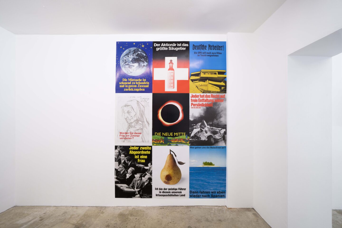 Exhibition View Groupshow «For; view on Klaus Staeck, Billboards, 1971-1999» at Milieu, Bern, 2020 / Photo: Claude Barrault / Courtesy: the artist and Milieu