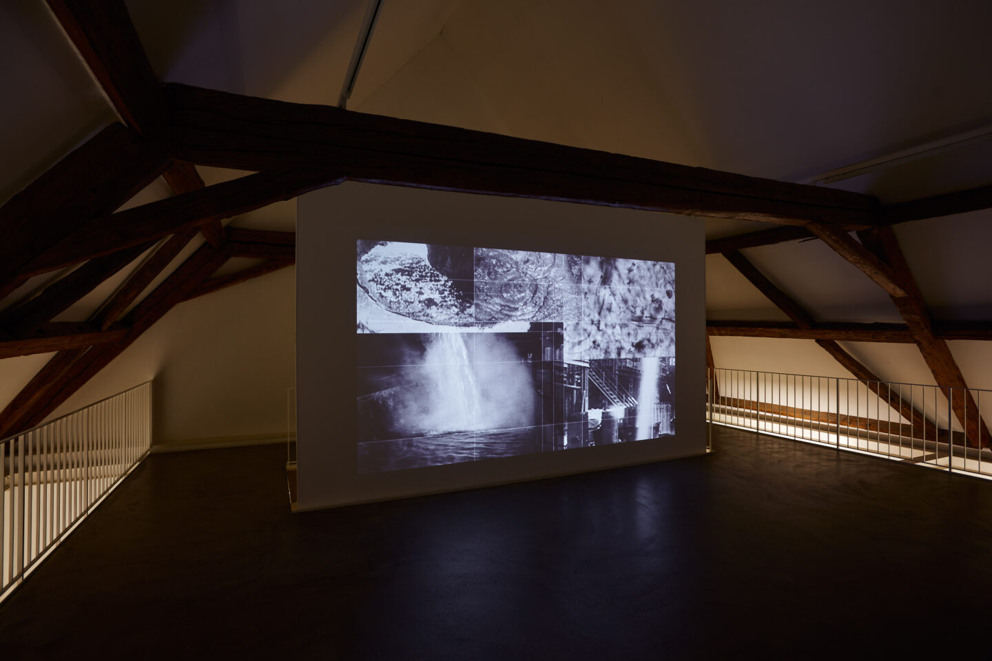 Exhibition View Groupshow «Motor; view on Alexandra Navratil, Under Saturn (Act 1), projection, 2018» at Kunstraum Riehen, Riehen, Basel, 2020 / Photo: Moritz Schermbach / Courtesy: the artist