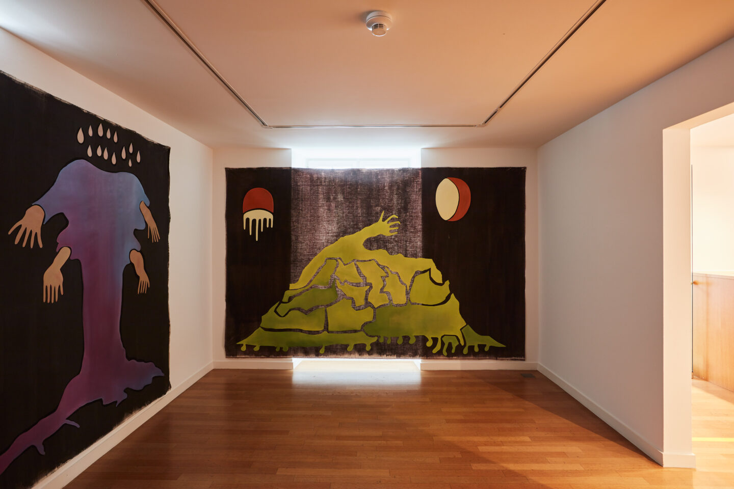 Exhibition View Groupshow «Motor; view on Inka Ter Haar, The Garden (6 of 6), oil on canvas, 330 x 210 cm, 2020» at Kunstraum Riehen, Riehen, Basel, 2020 / Photo: Moritz Schermbach / Courtesy: the artist