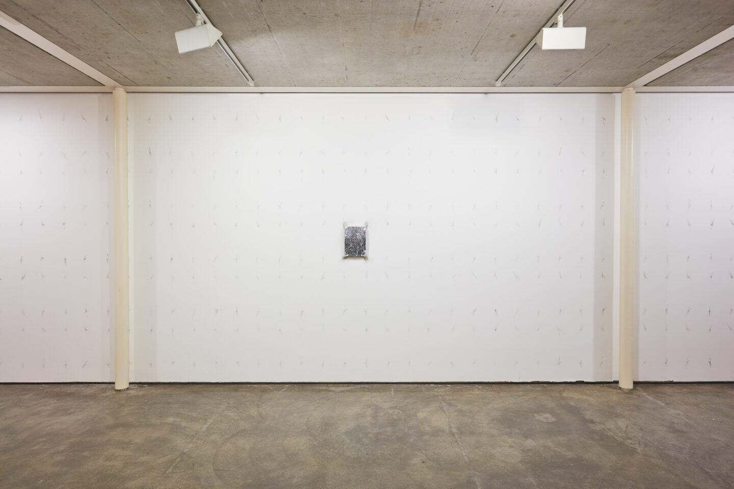 Exhibition View Groupshow «Motor; view on Samuli Blatter, Strange Attractor 13 (Daily Exorcism) batch of 120 drawings, traces on wall, graphite, paper, variable dimensions 2020» at Kunstraum Riehen, Riehen, Basel, 2020 / Photo: Moritz Schermbach / Courtesy: the artist
