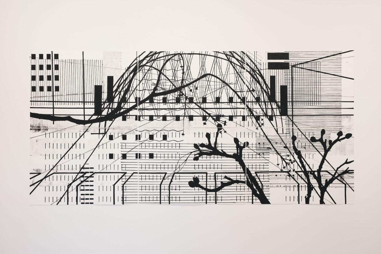 Exhibition View Groupshow «Motor; view on Anna B. Wiesendanger, untitled, acrylic on paper, 315x150cm, 2006» at Kunstraum Riehen, Riehen, Basel, 2020 / Photo: Moritz Schermbach / Courtesy: the artist