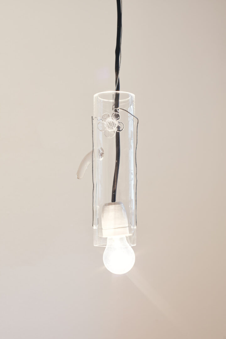 Exhibition View Groupshow «Motor; view on Stefan Burger, Untitled, glass, wire, light bulb, cable, variable dimensions, 2020» at Kunstraum Riehen, Riehen, Basel, 2020 / Photo: Moritz Schermbach / Courtesy: the artist