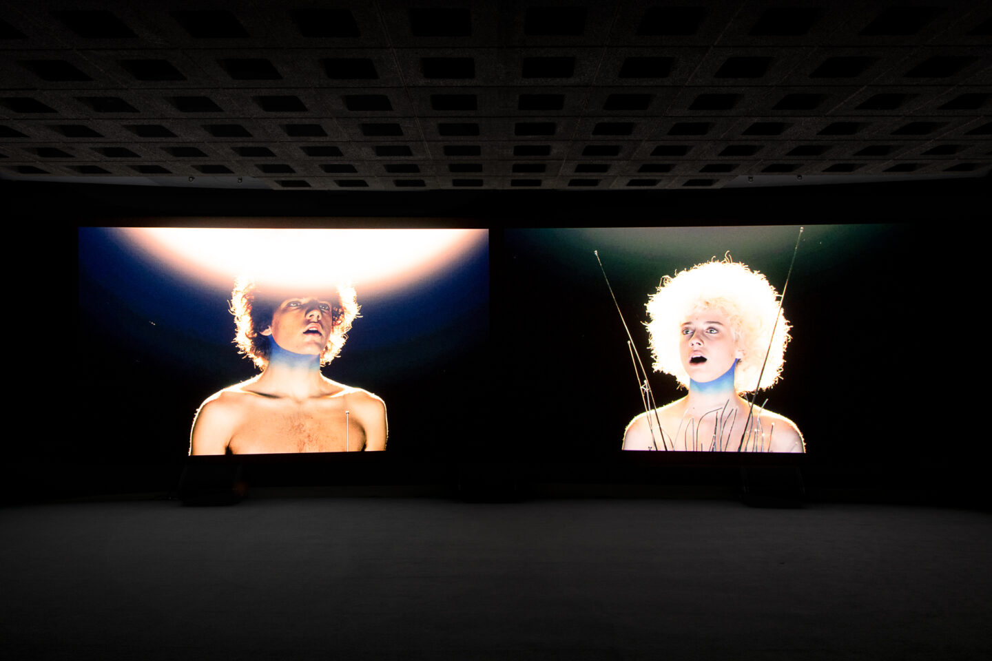 Exhibition View Groupshow «Metamorphosis Overdrive; view on Rä di Martino, Afterall, 2019 (video still)» at Kunstmuseum St. Gallen, St. Gallen, 2020 / Photo: Sebastian Stadler / Courtesy: the artist and Kunstmuseum St. Gallen