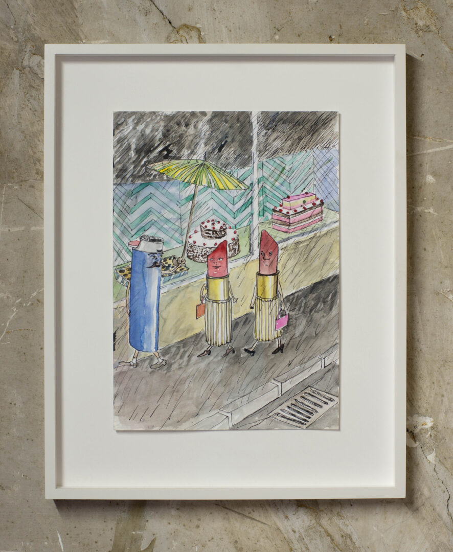 Exhibition View Groupshow «Watercolours, Chapter I; view on Amelie von Wulffen, Untitled, 2015, Watercolor and ink on paper, 29.7 x 21 cm» at Weiss Falk, Basel, 2020 / Photo: Flavio Karrer / Courtesy: the artist and Weiss Falk