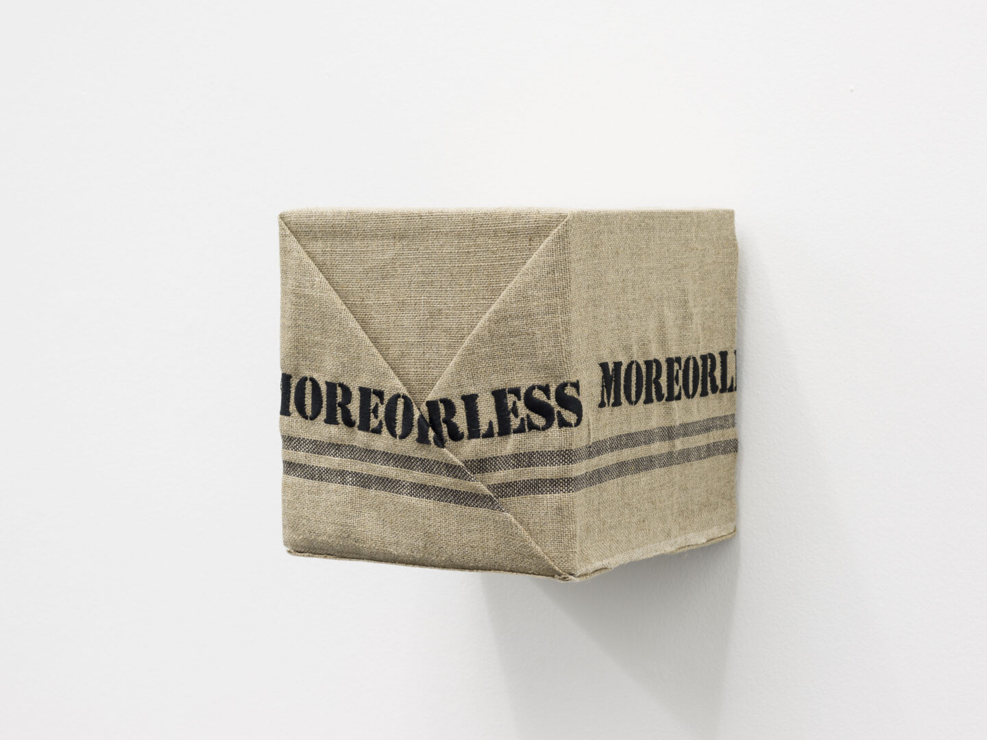 Exhibition View Rachal Bradley Soloshow «Erotics of Infrastructure iii; view on Rachal Bradley, One Poor Clare (Moreorless), 2020, 100% French linen, cotton, wood, screws, 21 x 21 x 21 cm» at Galerie Gregor Staiger, Zurich, 2020 / Courtesy: the artist and Galerie Gregor Staiger