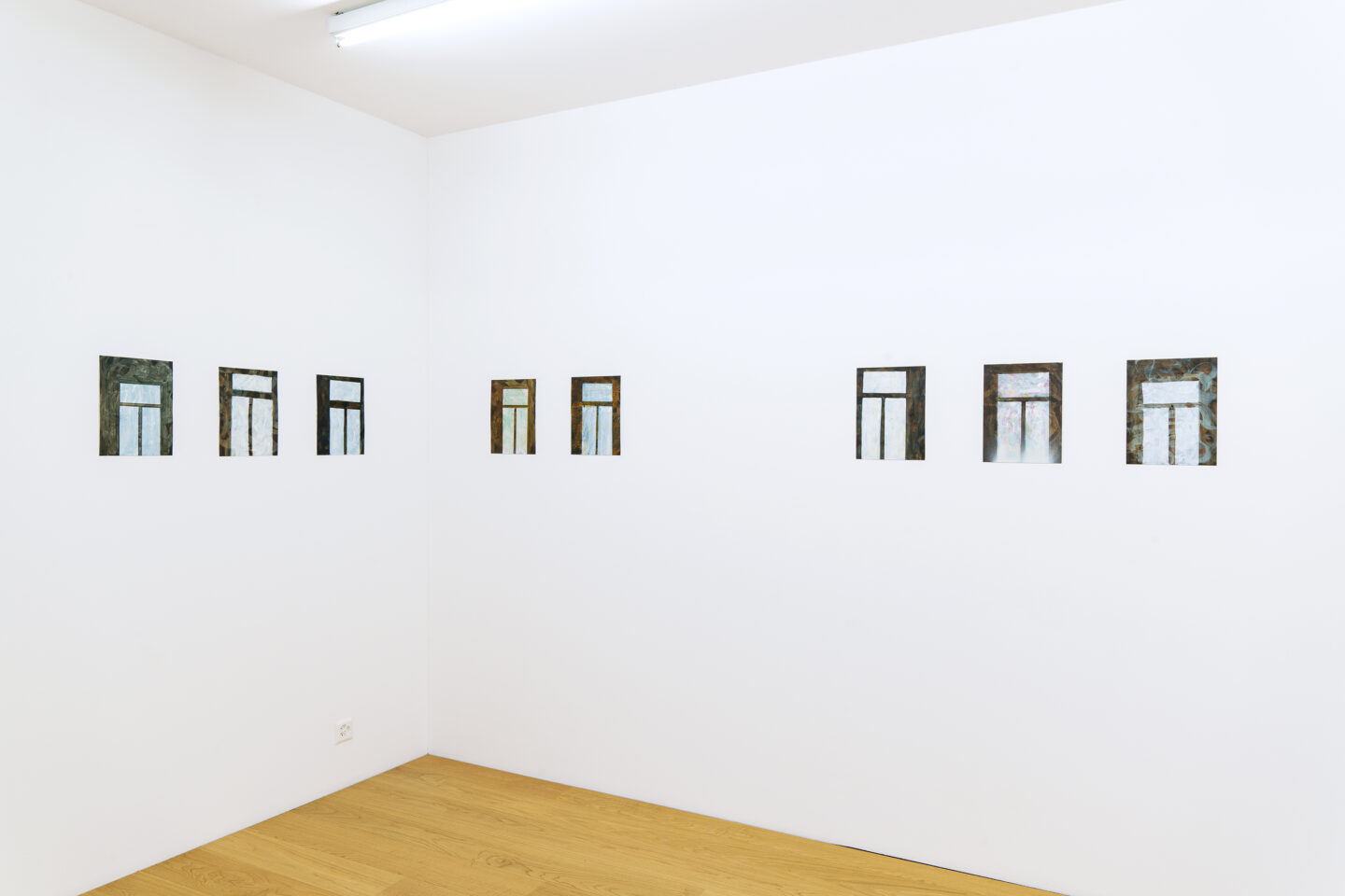 Exhibition View Groupshow «Among Them; view on Jakob Maria Buchner, Ohne Titel, 2019, Acrylic on grounded paper» at Kirchgasse, Steckborn, 2020 / Courtesy: the artists and Kirchgasse