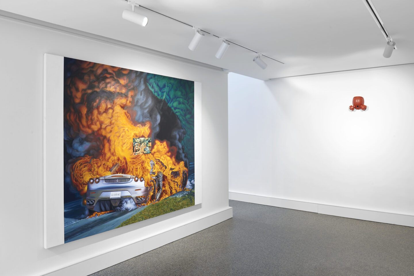 Exhibition View Groupshow «Supper Club; view on Mathieu Dafflon, Voyage au bout de la nuit, 2019 and Carmen Perrin, Masque peinture, 2020» at Wilde, Basel, 2020 / Photo: Philipp Hänger / Courtesy: the artists and Wilde