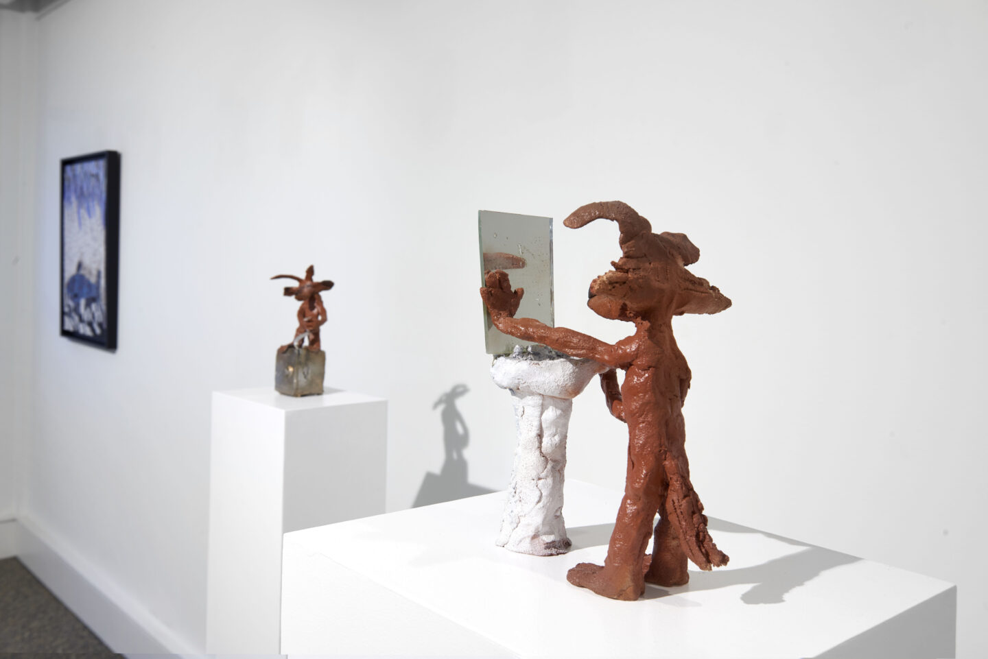 Exhibition View Groupshow «Supper Club; view on Cassidy Toner, Wile E. Coyote contemplates his existence, 2018 and Cassidy Toner, Wile E. Coyote desperately tries to open the vault to his inner happiness, 2019» at Wilde, Basel, 2020 / Photo: Philipp Hänger / Courtesy: the artist and Wilde