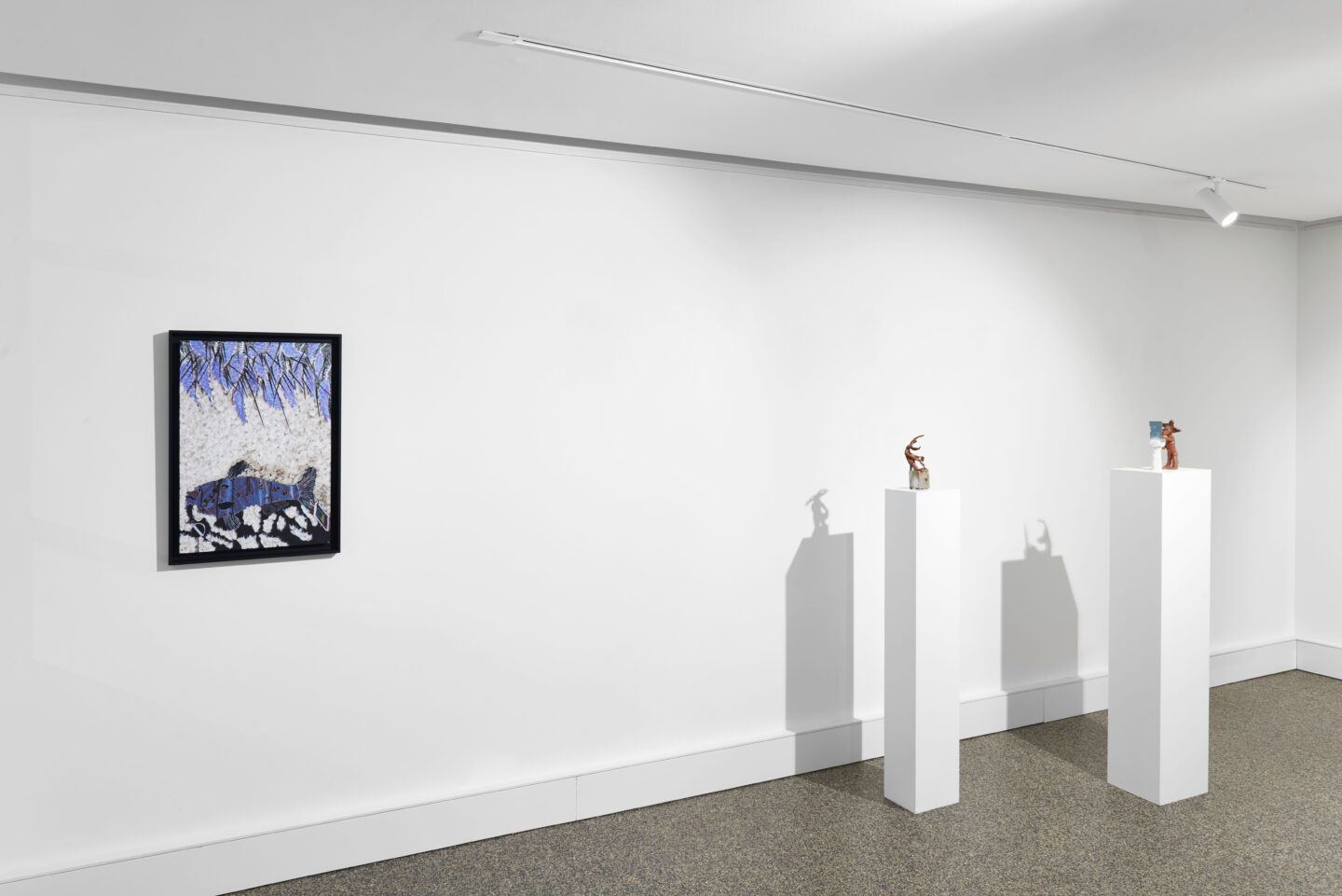 Exhibition View Groupshow «Supper Club; view on Omar Ba, Sans titre, 2014; Cassidy Toner, Wile E. Coyote desperately tries to open the vault to his inner happiness, 2019 and Cassidy Toner, Wile E. Coyote contemplates his existence, 2018» at Wilde, Basel, 2020 / Photo: Philipp Hänger / Courtesy: the artists and Wilde