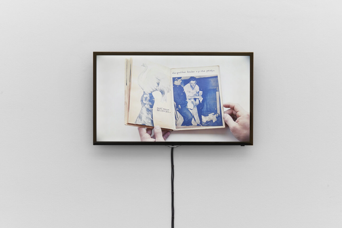Exhibition View Groupshow «Bizarre Silks, Private Imaginings and Narrative Facts, etc.; view on video documentation Ray Johnson's artist book Ray Gives a Party, ca. 1955» an exhibition by Nick Mauss at Kunsthalle Basel, Basel, 2020 / Photo: Philipp Hänger and Kunsthalle Basel / Courtesy: the artist and Kunsthalle Basel