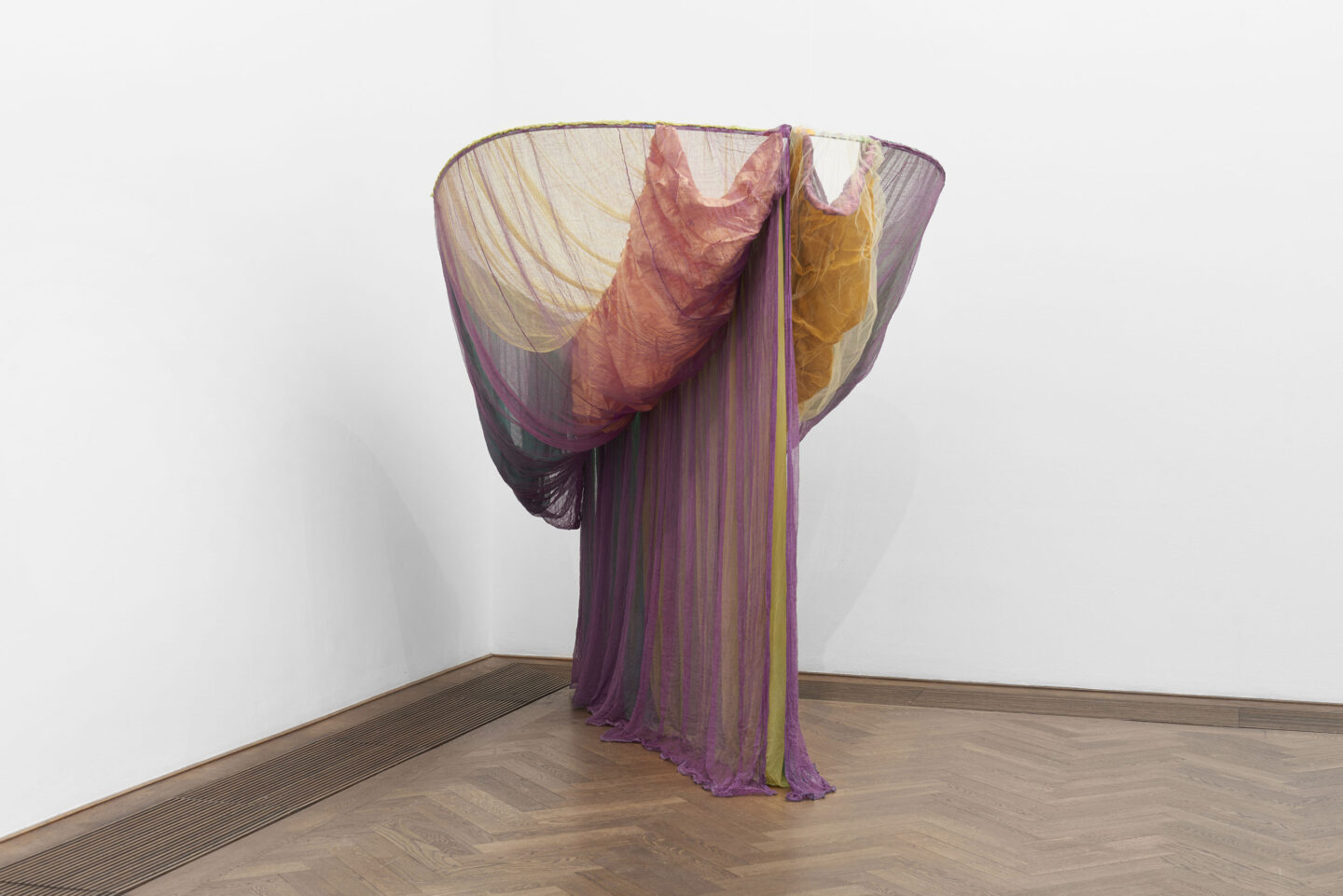 Exhibition View Groupshow «Bizarre Silks, Private Imaginings and Narrative Facts, etc.; view on Rosemary Mayer, Galla Placidia, 1973» an exhibition by Nick Mauss at Kunsthalle Basel, Basel, 2020 / Photo: Philipp Hänger and Kunsthalle Basel / Courtesy: the artist and Kunsthalle Basel