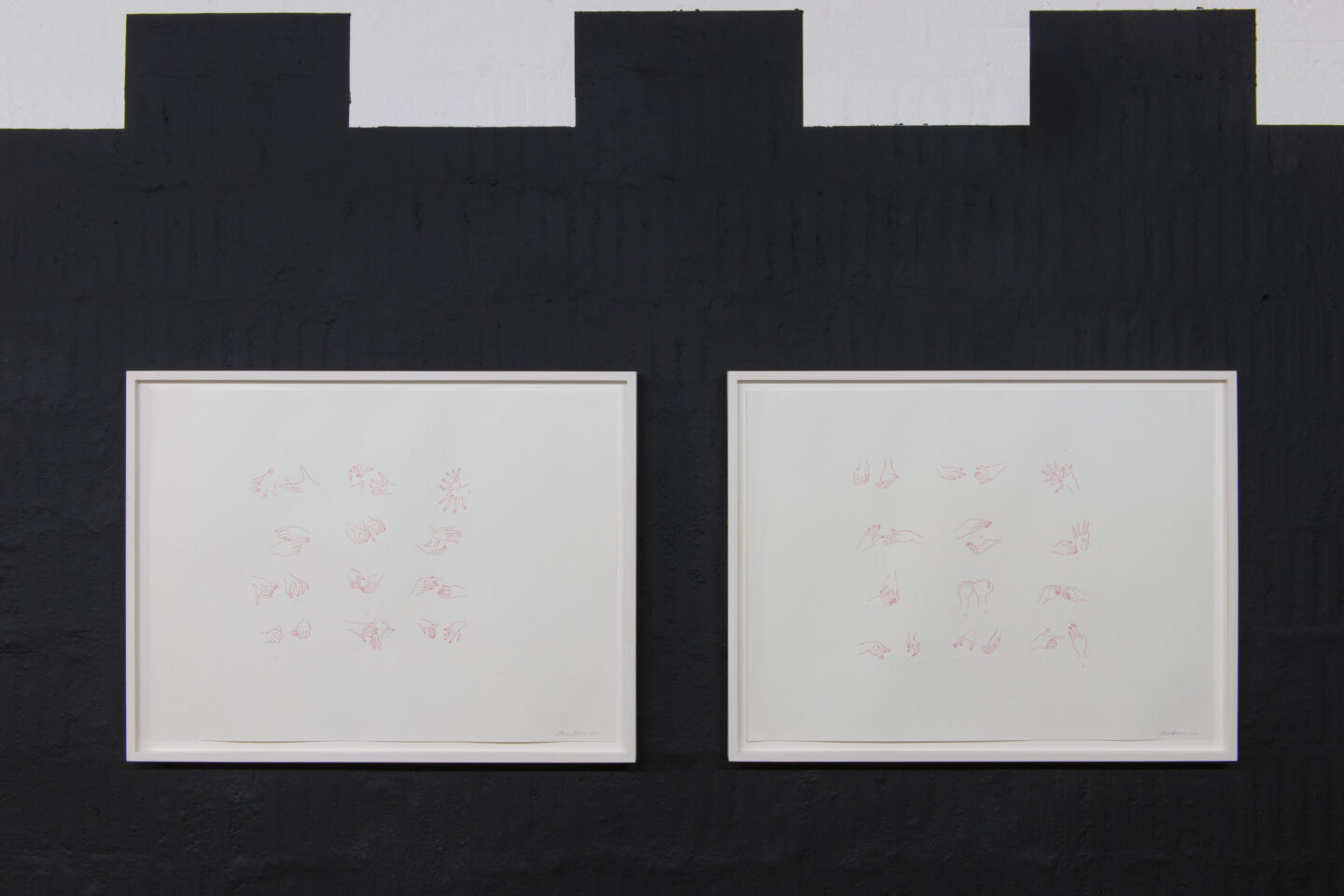Exhibition View Groupshow «i hate you; view on Madeline Hollander, Closeup 1+2, both 2017, Ink on paper 45.7 x 61 cm each» at Plymouth Rock, Zurich, 2020 / Courtesy: the artist and Plymouth Rock