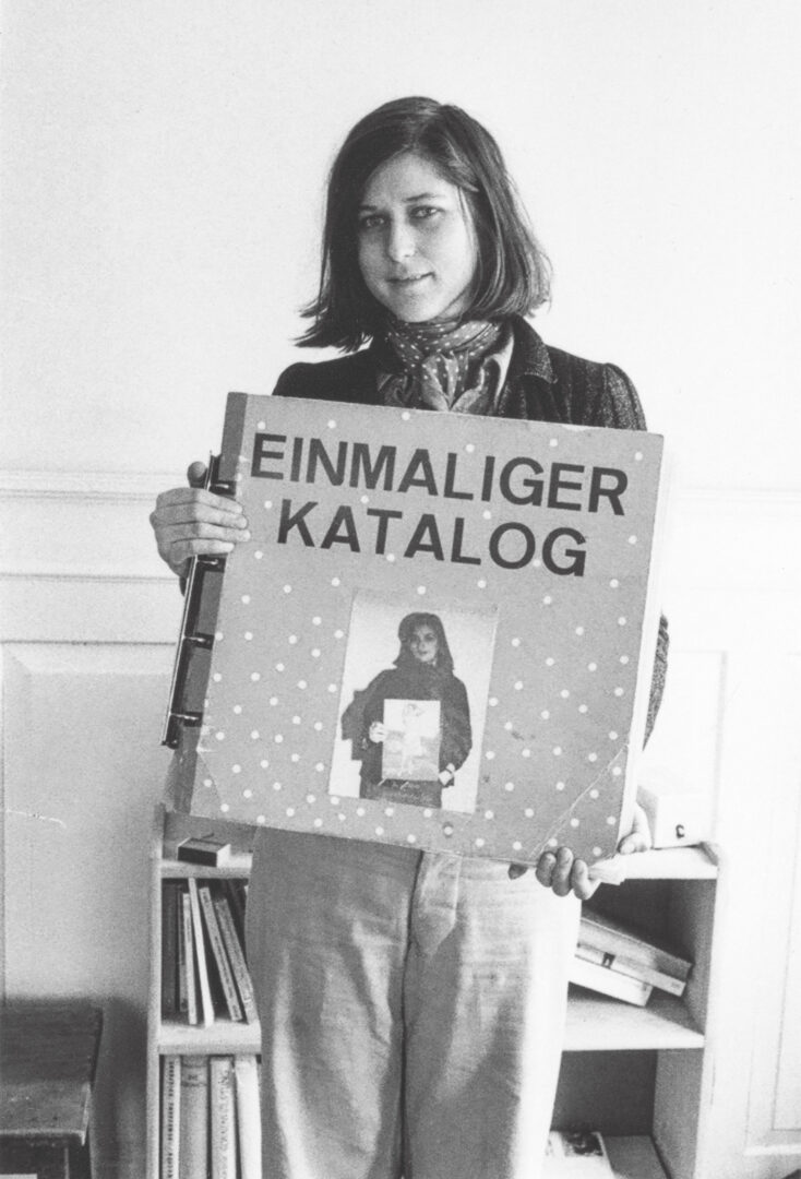 "Exhibition View Groupshow «Ausbruch & Rausch, Zurich 1975-1980, Women Art Punk; view on Katrin Trümpy holdinge the ""Einmaliger Katalog, Photo: Bice Curiger, 1975» at Strauhof, Zurich, 2020"