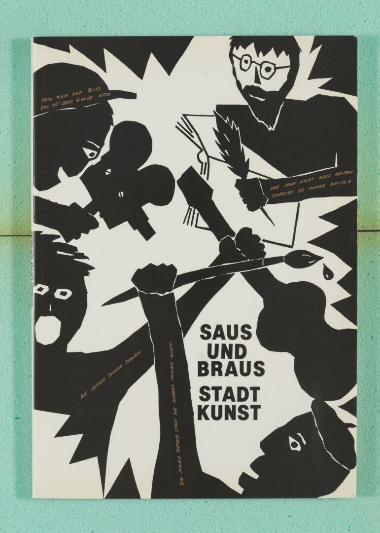"Exhibition View Groupshow «Ausbruch & Rausch, Zurich 1975-1980, Women Art Punk; view on Peter Fischli and Klaudia Schifferle, Poster and Frontcover of the catalog ""Saus und Braus"", 1980» at Strauhof, Zurich, 2020"