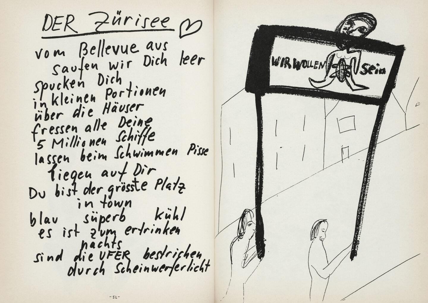 "Exhibition View Groupshow «Ausbruch & Rausch, Zurich 1975-1980, Women Art Punk; view on double page by Martin Disler for the catalog ""Saus und Braus"", 1980» at Strauhof, Zurich, 2020"