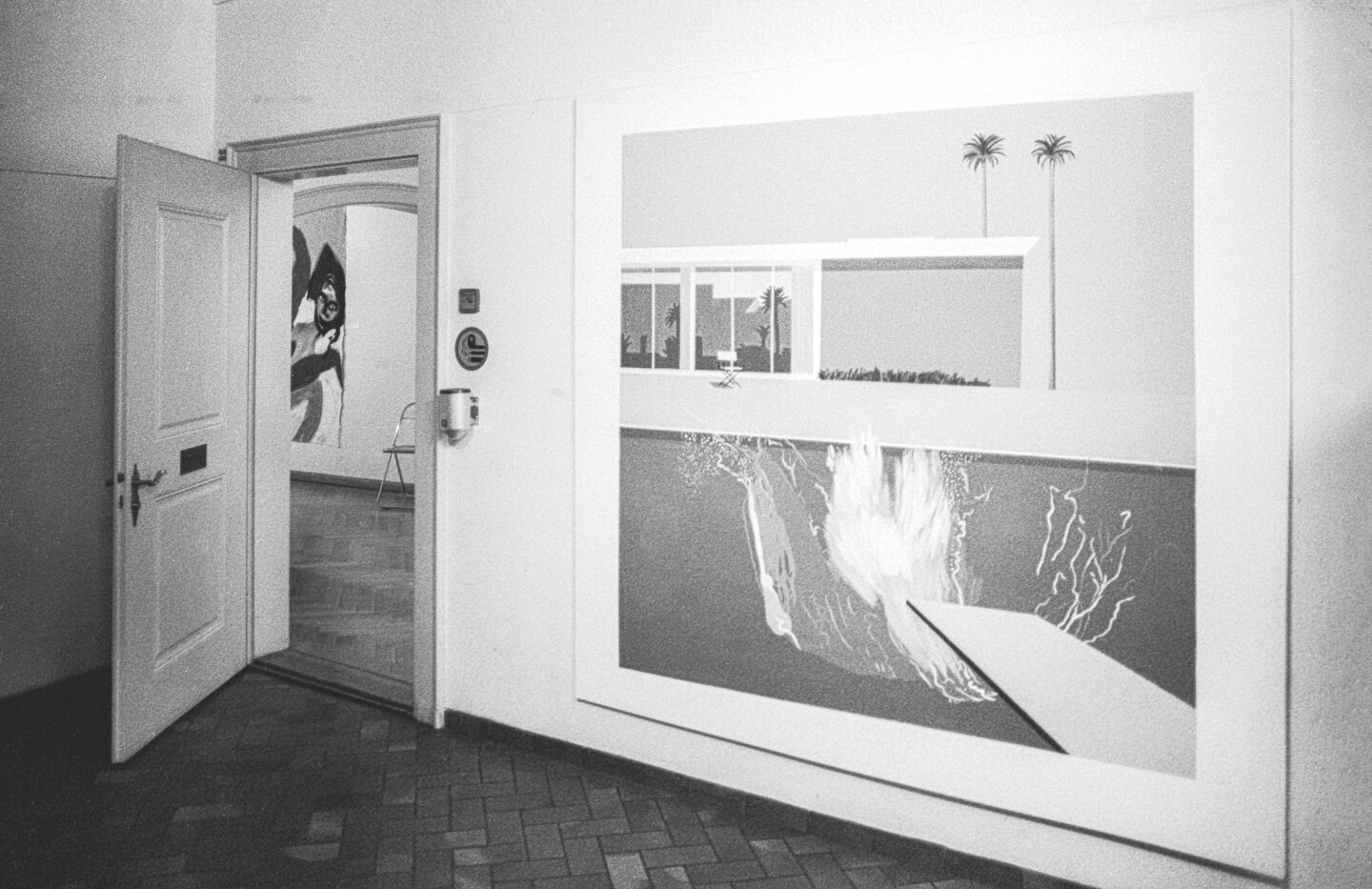 Exhibition View Groupshow «Ausbruch & Rausch, Zurich 1975-1980, Women Art Punk; view on Sergio Gallis «A Bigger Splash» after David Hockney at the entrance of the exhibition / Photo: Dieter Hall, 1980» at Strauhof, Zurich, 2020