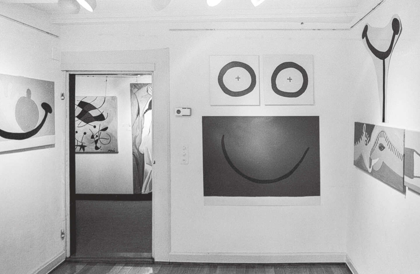 "Exhibition View Groupshow «Ausbruch & Rausch, Zurich 1975-1980, Women Art Punk; view on Klaudia Schifferle ""Immernimmer + Immerschlimmer"", Die Lachstange"" and ""Die Tiere die Türe"" and Sergio Gallis studies of Juan Miró and Pablo Picasso / Photo: Dieter Hall, 1980» at Strauhof, Zurich, 2020"