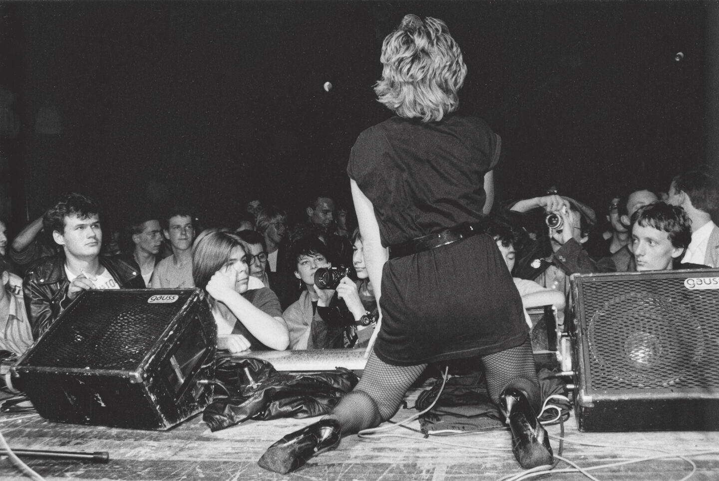 Exhibition View Groupshow «Ausbruch & Rausch, Zurich 1975-1980, Women Art Punk; view on Silvia Zanotta from Mother's Ruin at the Monsterkonzert, Zurich, 29 August 1980 / Photo: Koni Nordmann» at Strauhof, Zurich, 2020