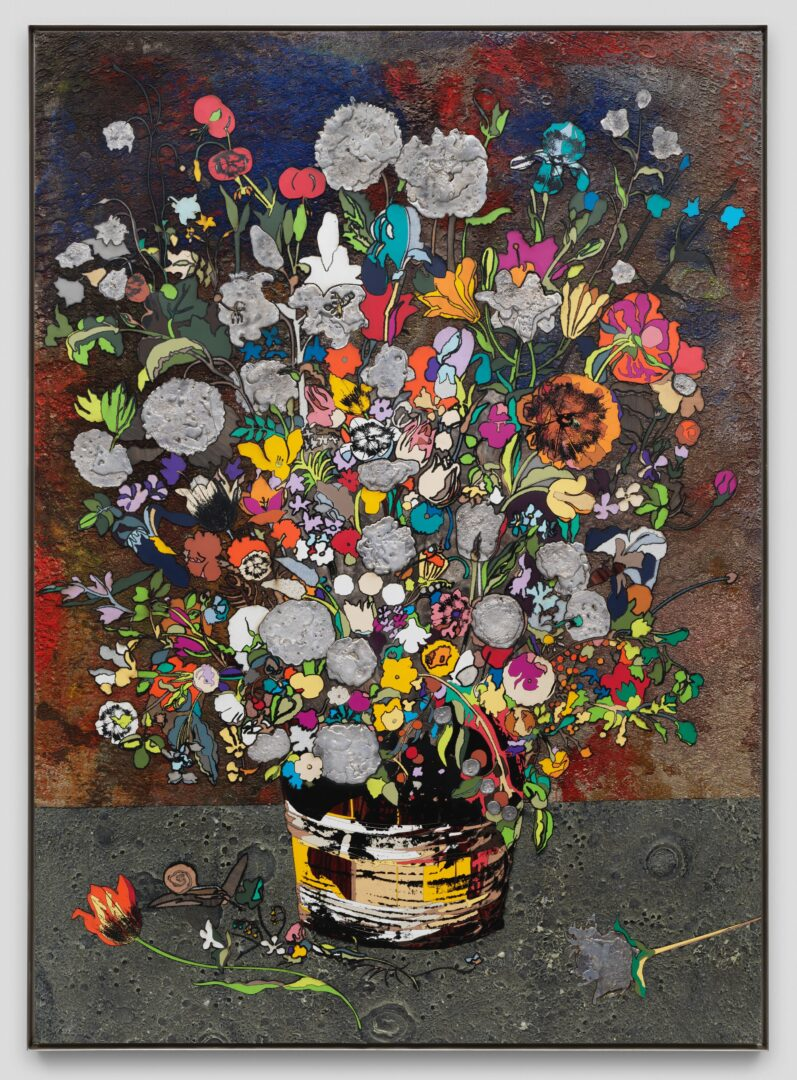 Exhibition View Matthew Day Jackson Soloshow «Flowers, Windows and Thistles; view on Matthew Day Jackson, Bouquet of Flowers (Strasbourg) [B60], 2020, Formica, silkscreen, oil paint, acrylic, urethane plastic, fiberglass, lead on panel, stainless steel frame, 211.5 x 153 x 5.5 cm» at Hauser & Wirth Zürich, Zurich, 2020 / Photo: © Matthew Day Jackson / Courtesy: the artist and Hauser & Wirth