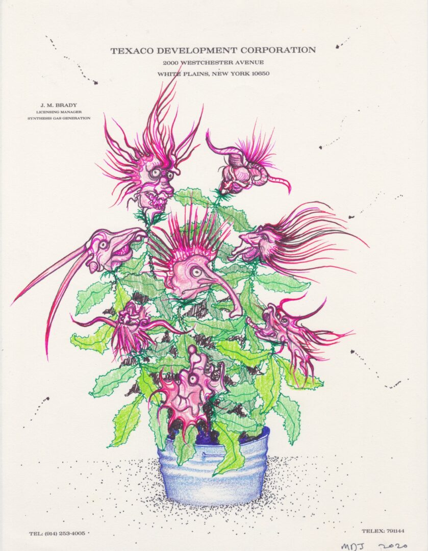 Exhibition View Matthew Day Jackson Soloshow «Flowers, Windows and Thistles; view on Matthew Day Jackson, Letterhead drawing #51, 2020, Pen, color pencil, MSA on paper, 27.9 x 21.6 cm» at Hauser & Wirth Zürich, Zurich, 2020 / Photo: © Matthew Day Jackson / Courtesy: the artist and Hauser & Wirth
